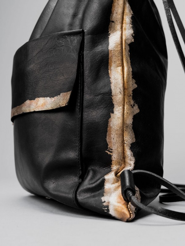 Daniele Basta Leather oxide silver backpack